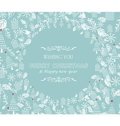 Vintage Christmas card with tree and ornaments vector