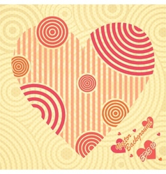 Vintage postcard with heart ornate of stripes vector image