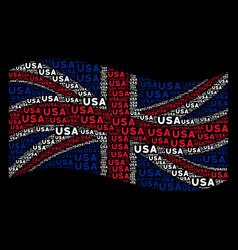 waving united kingdom flag mosaic of usa text vector image