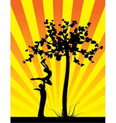 yellow shine apple tree vector image
