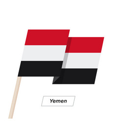Yemen ribbon waving flag isolated on white vector