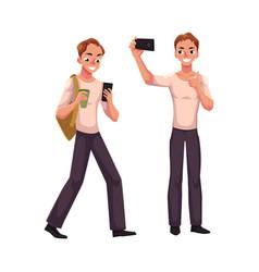 young man using smartphone walking making selfie vector image