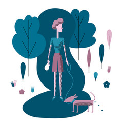 young woman walking dog in park clean up vector image