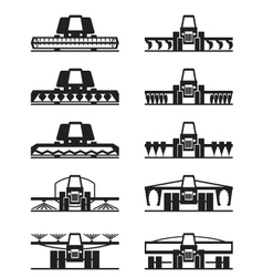 Agricultural machinery icon set vector image