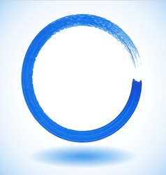 Blue paintbrush circle frame vector image vector image
