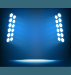 bright spotlights on dark blue background vector image