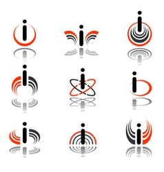 design elements with letter i vector image