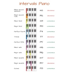 Intervals piano infographics with keyboard vector image