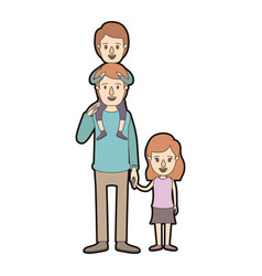 light color caricature thick contour dad with boy vector image vector image