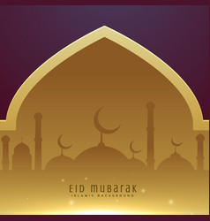 beautiful muslim eid festival greeting design vector image