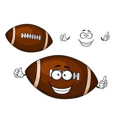 Cartoon brown rugby ball mascot character vector image