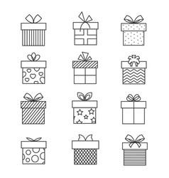 gift boxes thin line icons present box vector image vector image
