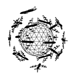 Globe with airplane vector image vector image