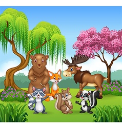 Happy animal collection in the jungle vector image vector image