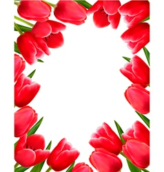Red fresh spring flowers background vector image vector image