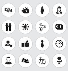 set of 16 editable job icons includes symbols vector image vector image