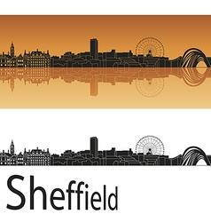 Sheffield skyline in orange background vector image vector image