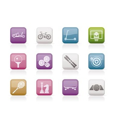 sports equipment icons vector image vector image