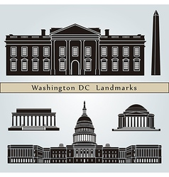 Washington DC landmarks and monuments vector image vector image