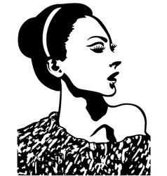 woman face profile portrait vector image