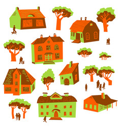 architecture design elements set of cute vector image vector image