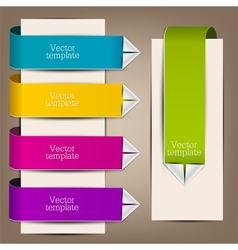Colorful bookmarks and arrows for text vector image