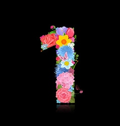 Fun number of fancy flowers on black background 1 vector image