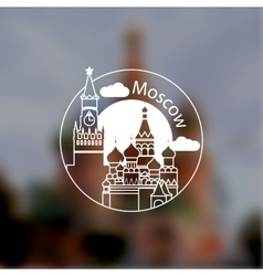 Minimalist round icon of Moscow Russia Flat one vector image vector image
