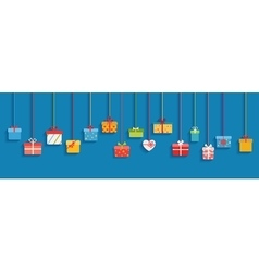 Multicolored hanging gift boxes vector image vector image