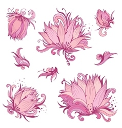 Pink Lotus Flowers Set vector image vector image