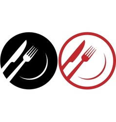 red restaurant icons vector image
