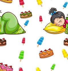 Seamless background with girll sleeping vector image