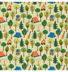 Camping and hiking background seamless pattern vector image vector image