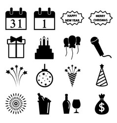 happy new year icon set vector image vector image