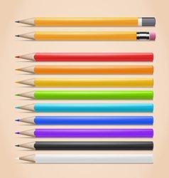 Realistic Colorful Pencils Set vector image