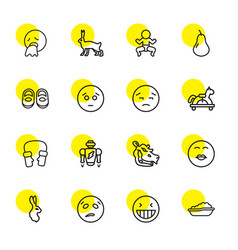 16 cute icons vector image