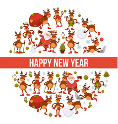 2018 cartoon santa and deer poster or greeting vector image