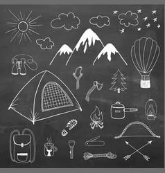 Adventures hand drawn doodle set vector
