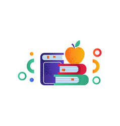 apple on a pile of books education concept vector image
