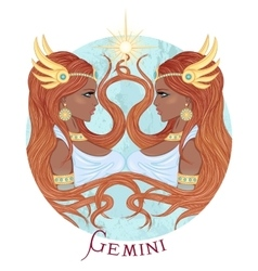 Astrological sign of Gemini as a african girl vector image