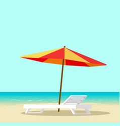 beach lounge with empty chair near sea and sun vector image
