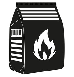 Black and white coal bag silhouette vector