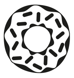 black and white donut with sprinkles silhouette vector image