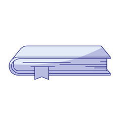 Blue shading silhouette of book with bookmark vector