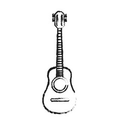 Blurred silhouette acoustic guitar musical vector