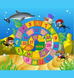 Boardgame template with kids underwater vector