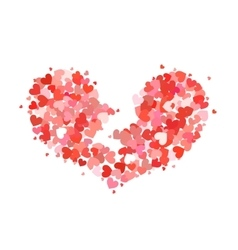 Broken heart made up of little red and pink hearts vector image