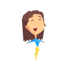 Brown Hair Female Character Rejoicing vector