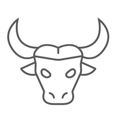 Buffalo thin line icon animal and zoo cattle vector