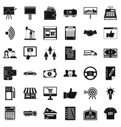 Business contract icons set simple style vector